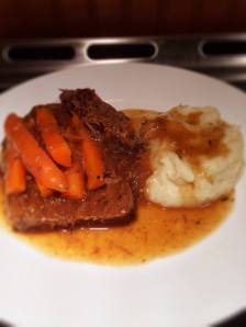 My classic beef pot roast with creamy mashed cauliflower.