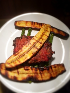 My grilled meatloaf, grilled plantains, and pan fried asparagus.