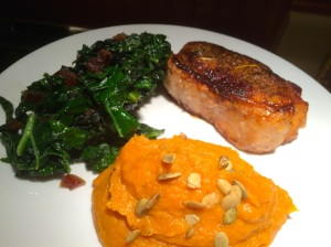 A complete dinner plate with my mashed pumpkin and sweet potato as a colorful and full of flavor side dish.