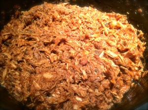 My BBQ pork roast, pulled in the pot.