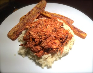 My BBQ pork roast, pulled, atop a bed of fluffy rosemary & garlic cauliflower rice, with a side of baking yellow plantains.
