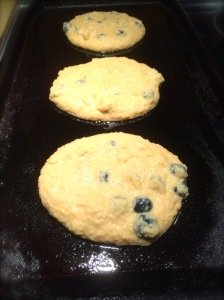 Ensure you spray the tops of your pancake batter with coconut oil spray so that the blueberries do not stick to your griddle when you flip them!