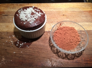 Traditional Chocolate Souffle topped with finely shaven coconut