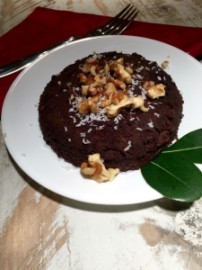 My five minute chocolate brownie, topped with shredded coconut and walnuts!