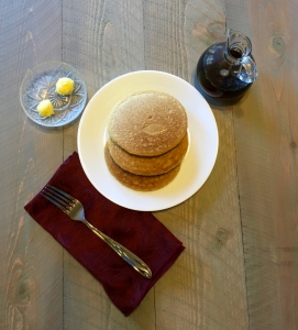 Breakfast is served! My pancakes with ghee and pure maple syrup.